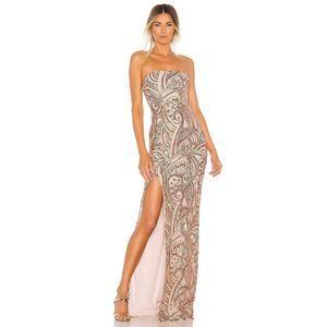 Nookie Sensational Sequin Thigh Slit Boned Gown